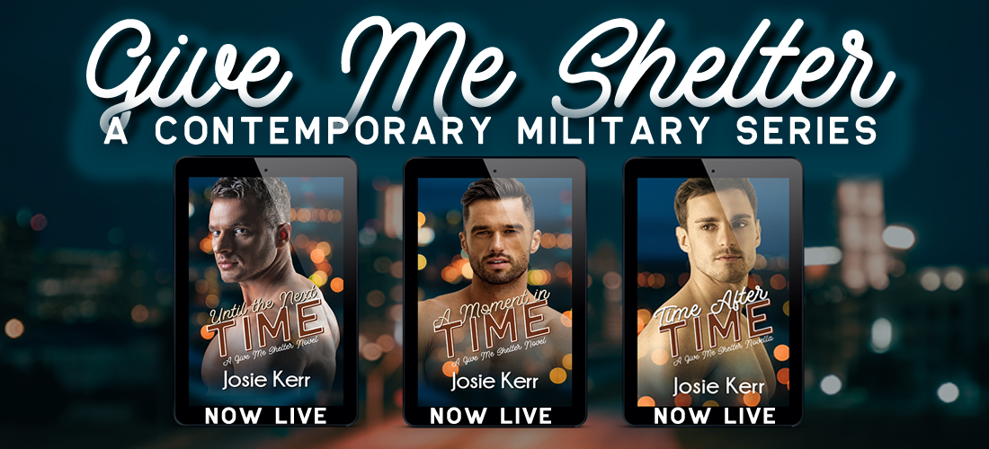 Covers of the Give Me Shelter contemporary military series
